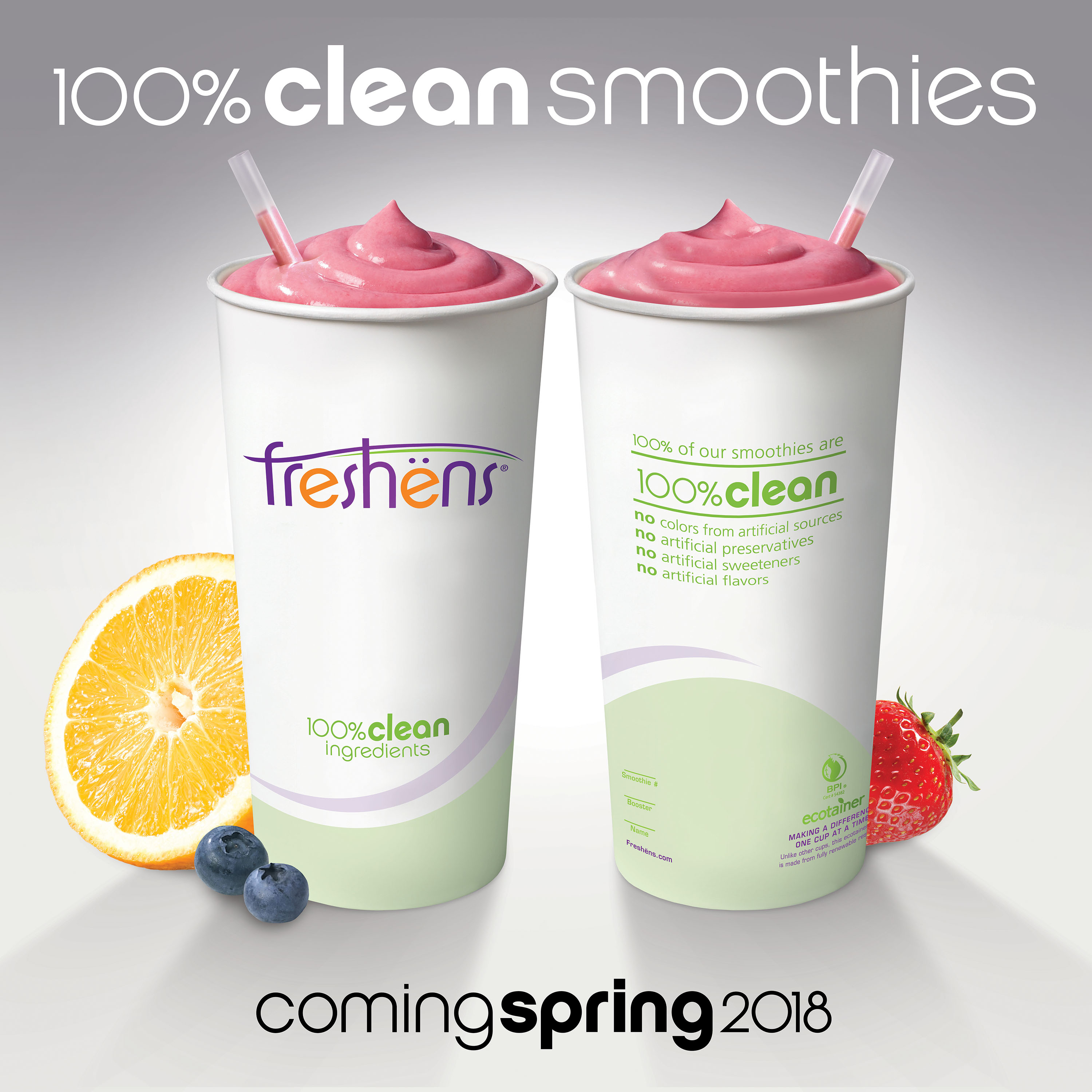 100% of Freshens Smoothies will be 100% Clean This Spring! No artificial preservatives, sweeteners, flavors, or colors from artificial sources. 100% Gluten Friendly, 100% Non-GMO Fruits & Vegetables, 100% Vegan Raw Sugar, 100% Free from Growth Hormones